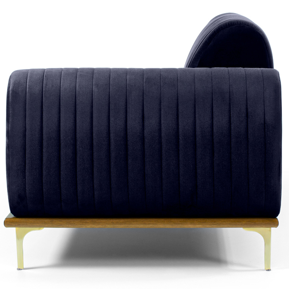 Sofá 04 Lugares 265 cm Chaise Direito Molino Base Madeira Pés Gold Suede Azul Marinho - casaepoltrona