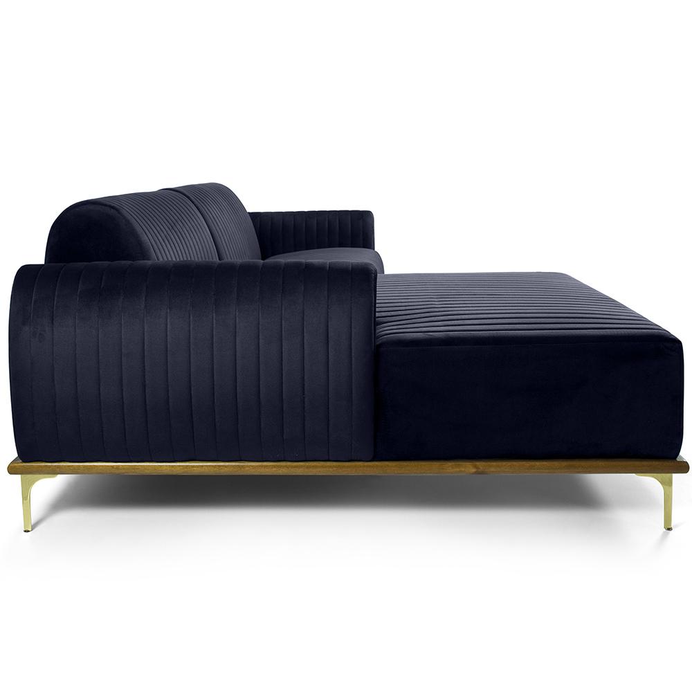 Sofá 04 Lugares 230 cm Chaise Direito Molino Base Madeira Pés Gold Suede Azul Marinho - casaepoltrona