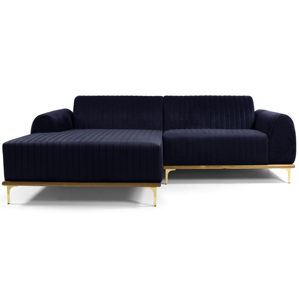 Sofá 05 Lugares 300 cm Chaise Direito Molino Base Madeira Pés Gold Suede Azul Marinho - casaepoltrona