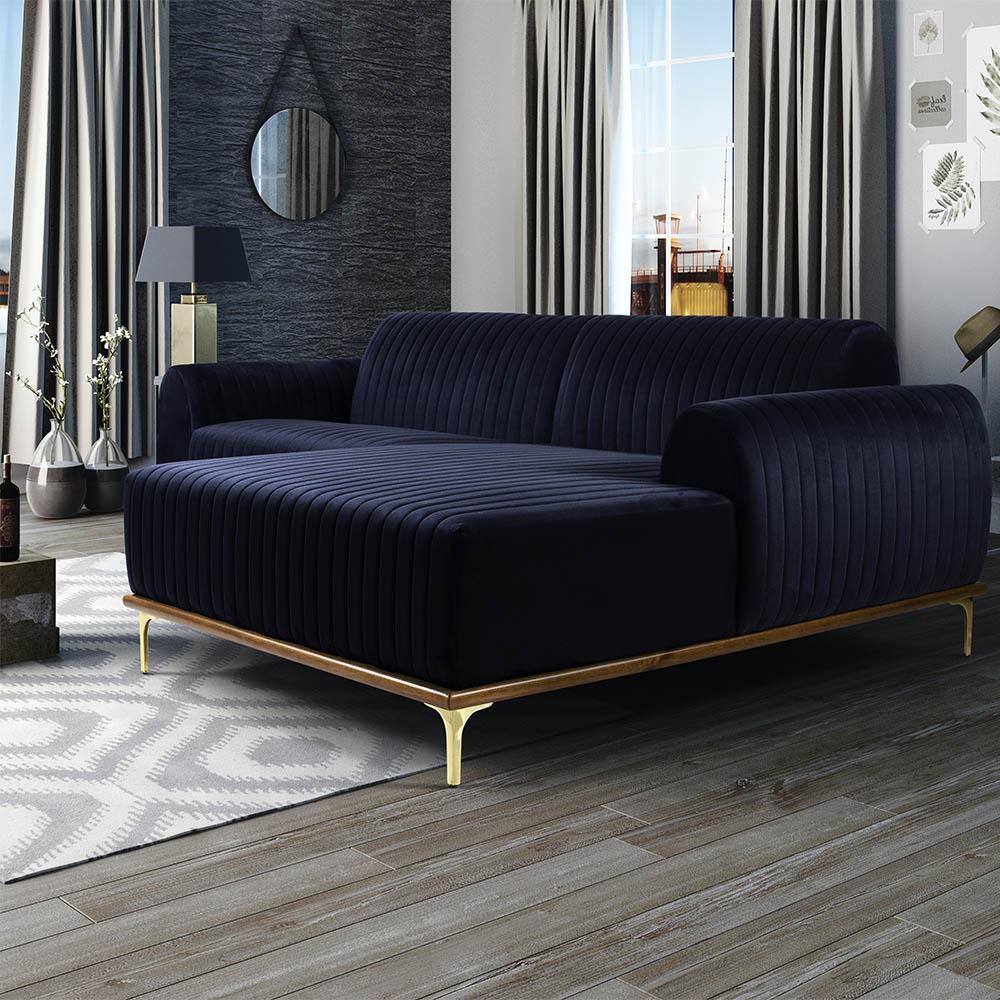 Sofá 05 Lugares 300 cm Chaise Esquerdo Molino Base Madeira Pés Gold Suede Azul Marinho - casaepoltrona