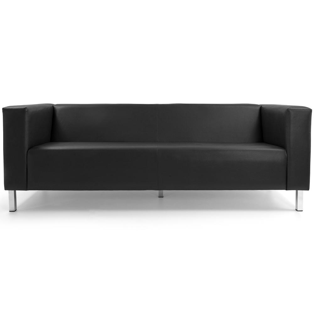 Sofá de Sala Decorativa Kubo 03 Lugares 210 cm Corano Preto - casaepoltrona