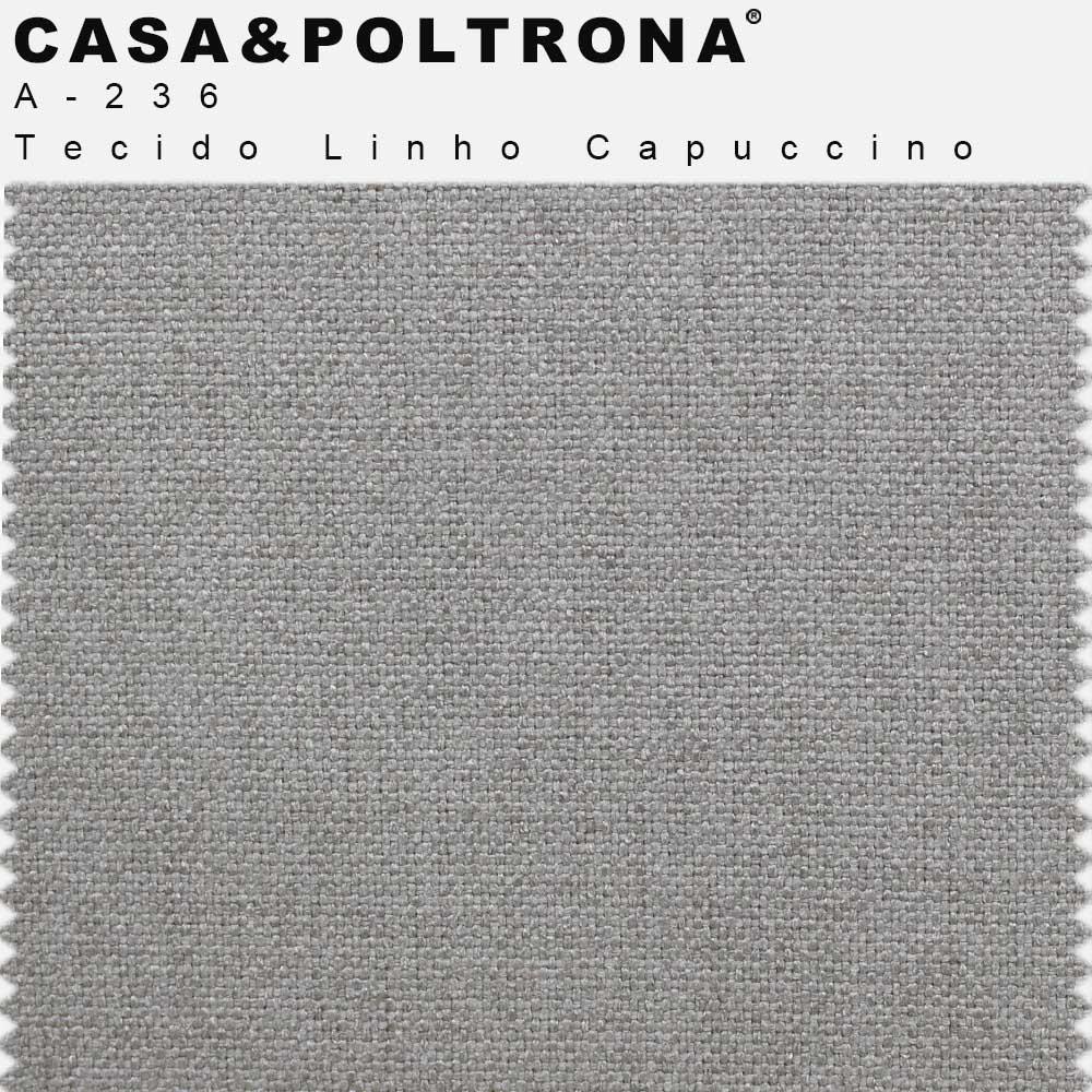 Sofá Luminne Base Madeira 03 Lugares 230 cm Linho Capuccino - casaepoltrona
