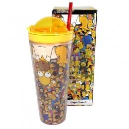 Copo com Canudo 2 em 1 The Simpsons