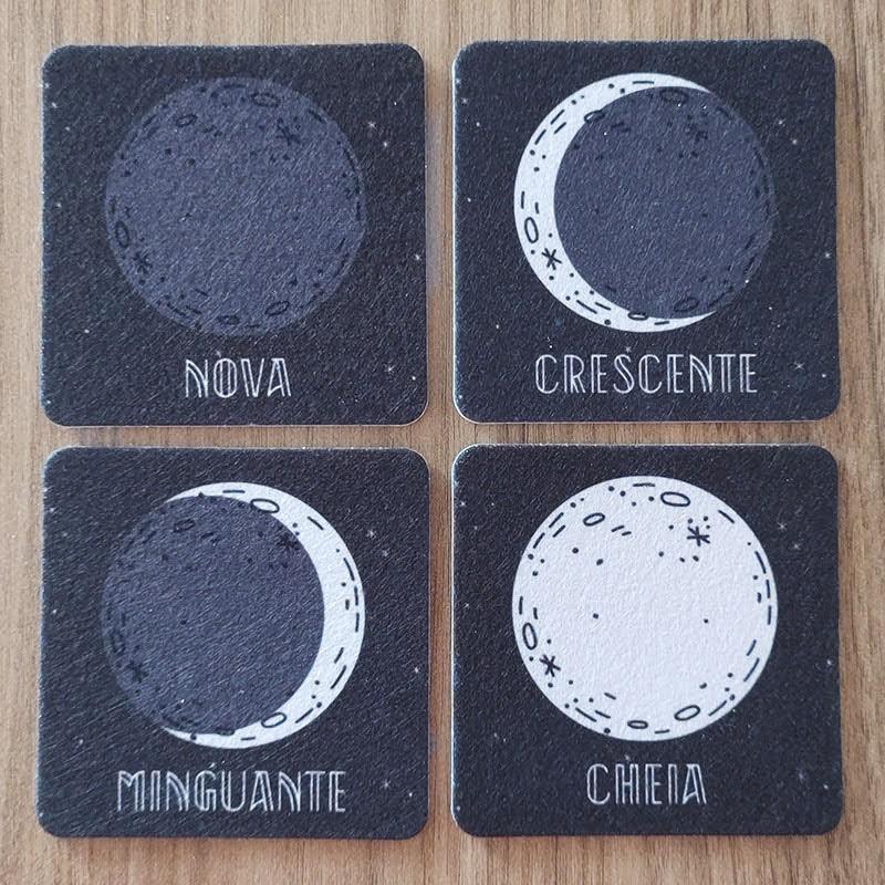 Jogo de Porta Copos Fases da Lua