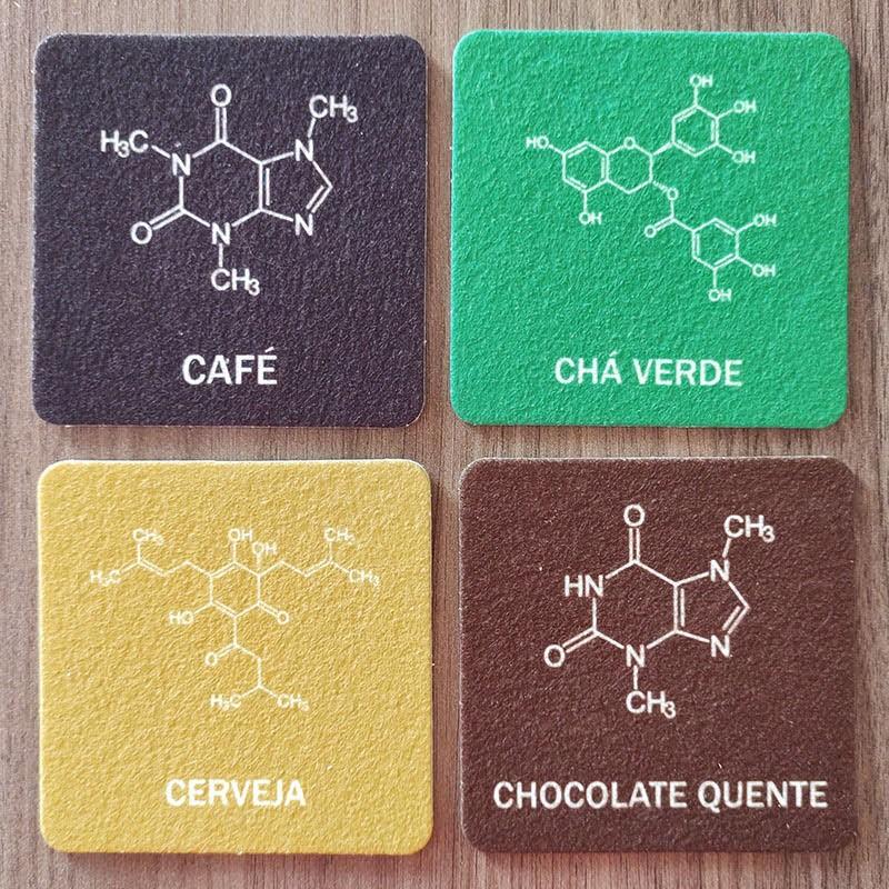 Jogo de Porta Copos Moléculas de Bebidas