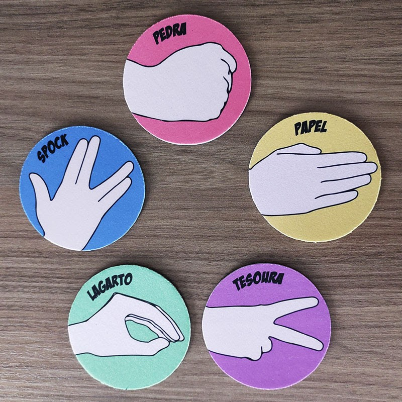 Jogo de Porta Copos Pedra, Papel, Tesoura, Lagarto, Spock