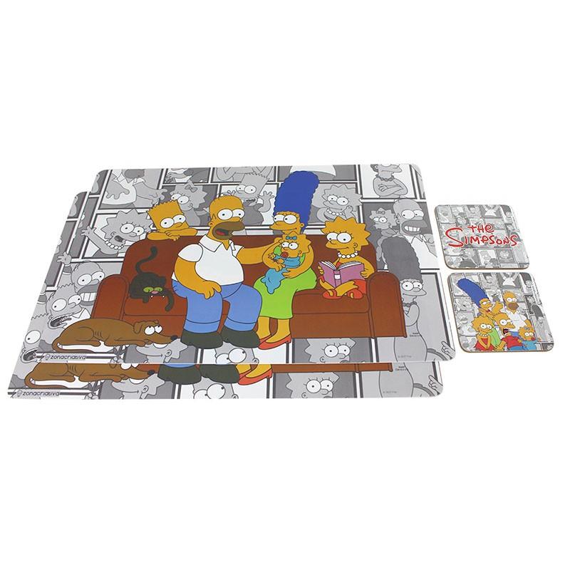 Kit Jogo Americano e porta copos Família Simpsons