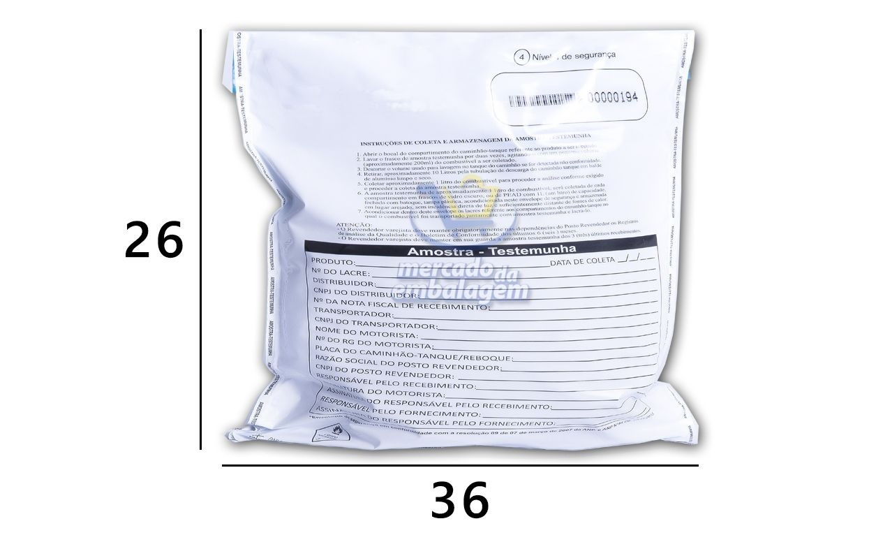 Envelope Amostra Testemunha - ANP - 26 x 36 cm