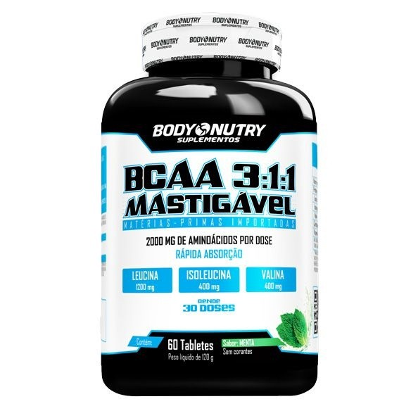 BCAA 3:1:1 Mastigável Body Nutry 60 tabletes