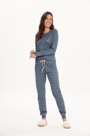 Cor com amor pijama longo azul 12600