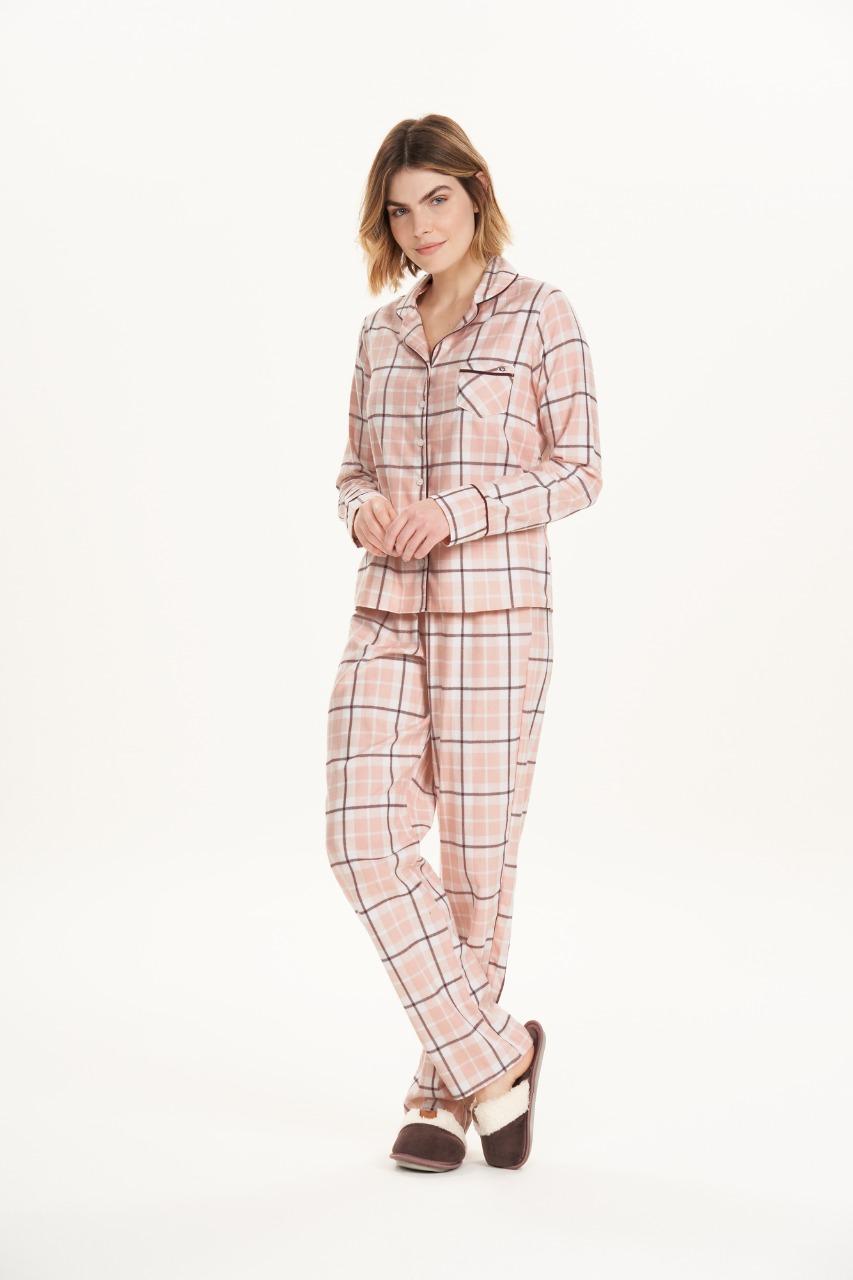 Cor com amor pijama flanela xadrez 12641