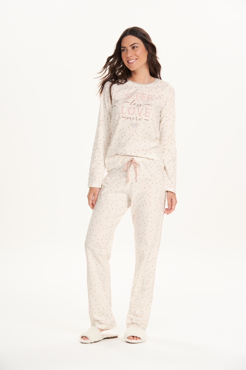 Cor com amor pijama longo algodão 12659