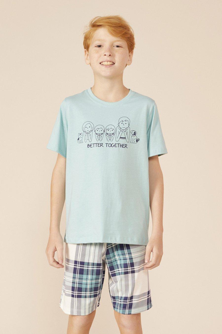 Mensageiro dos Sonhos Pijama Curto Família Filho 131432