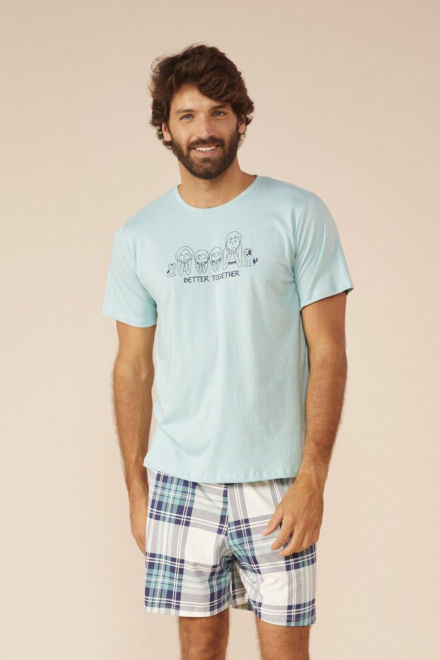 Mensageiro dos Sonhos Pijama Curto Masculino Família Pai 131431