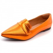 Mocassim  Super Confort Bico fino Metalizado Orange