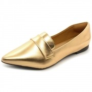 Mocassim  Super Confort Bico fino Metalizado Rose Gold