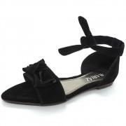 Sandália Laço Chanel Nobuck Confort Preta Mariáz Shoes