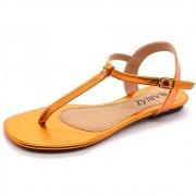 Sandália Rasteirinha Super Confort Bico Quadrado Metalizado Orange