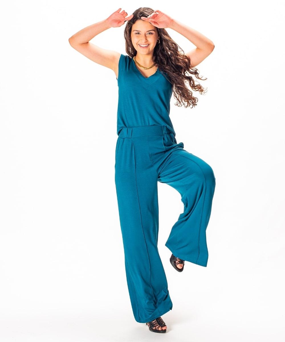 Calça Pantalona Malha CJ Blusa Regata Decote