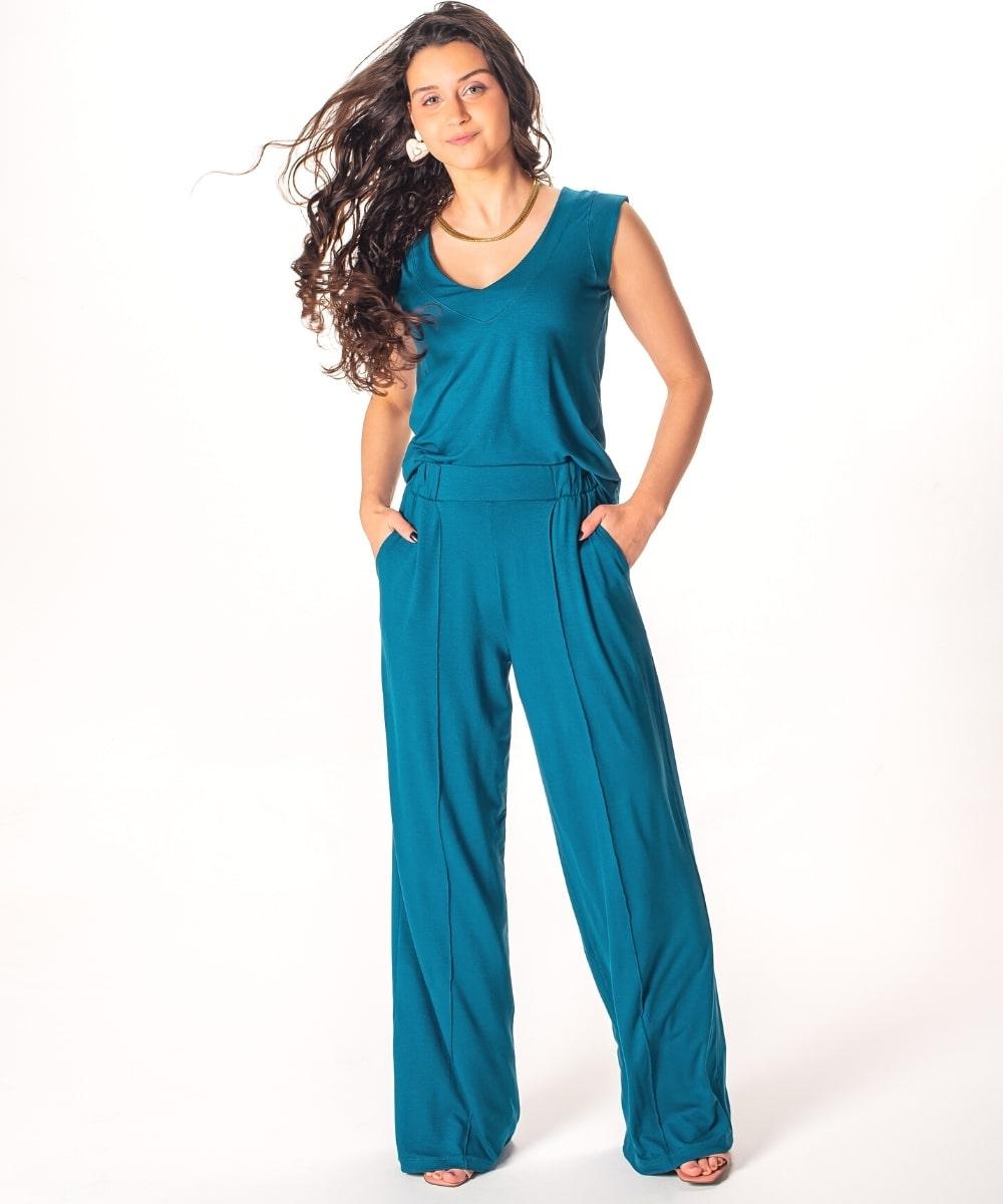 Conjunto Calça Pantalona Malha | Blusa Regata Decote