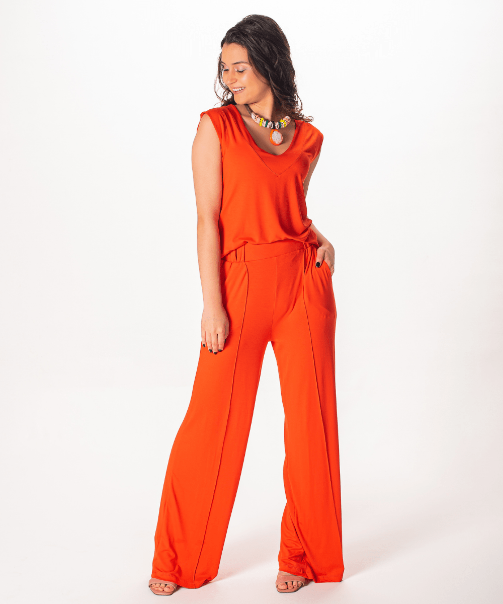 Conjunto Calça Pantalona | Blusa Regata Decote