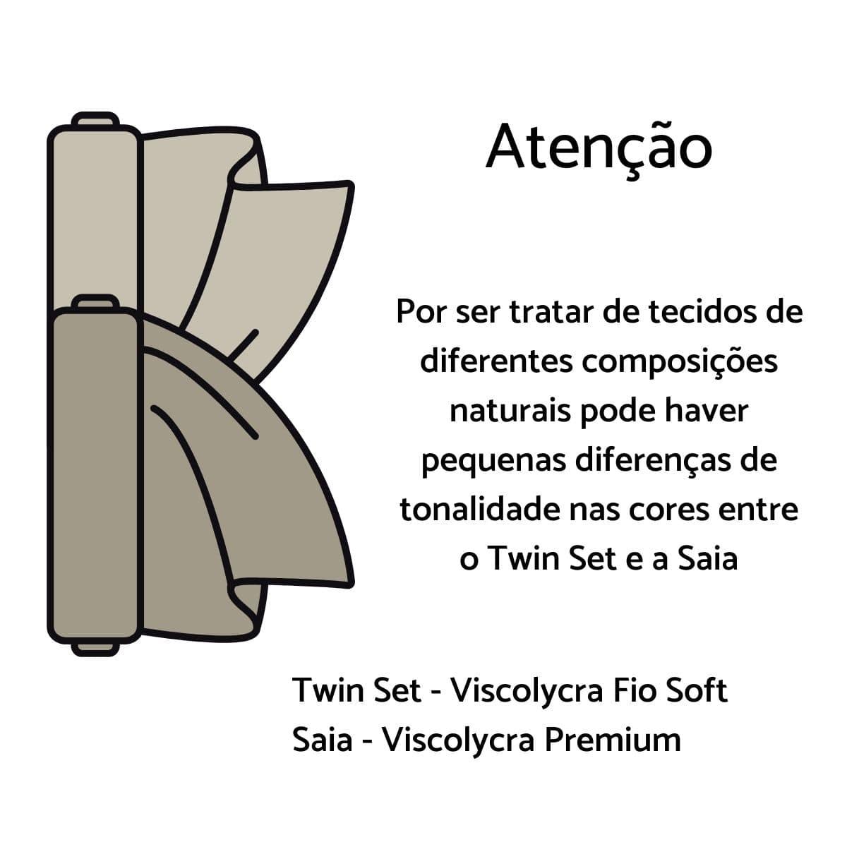 Conjunto Elegante Saia + Twin Set Malha   - Mariáz