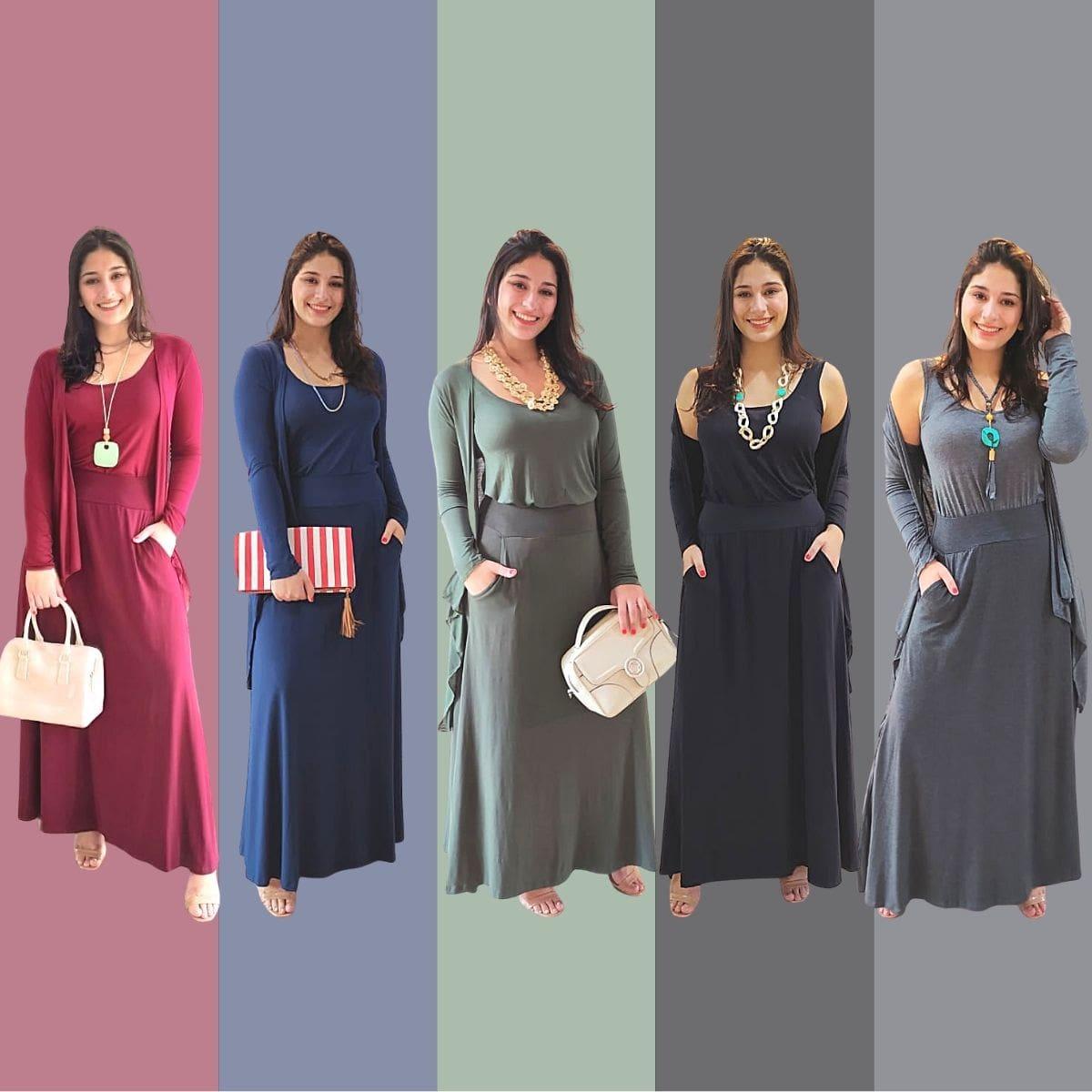 Conjunto Elegante Saia + Twin Set Malha Mescla  - Mariáz