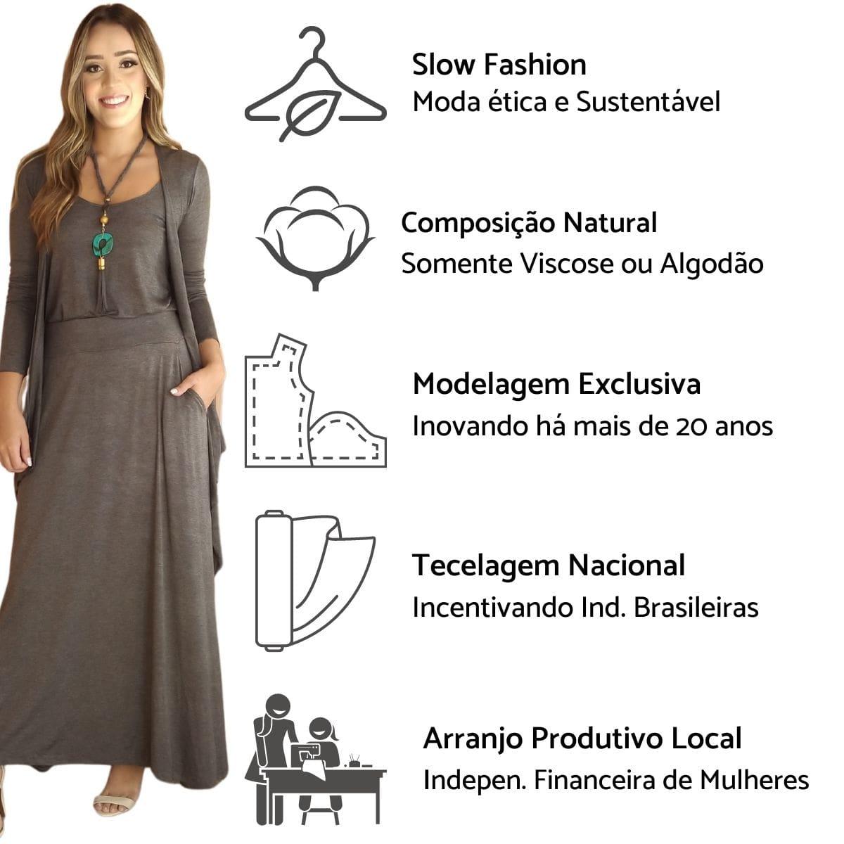 Conjunto Elegante Saia + Twin Set Malha Preto  - Mariáz