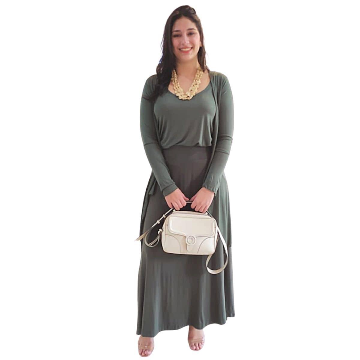 Conjunto Elegante Saia + Twin Set Malha Verde