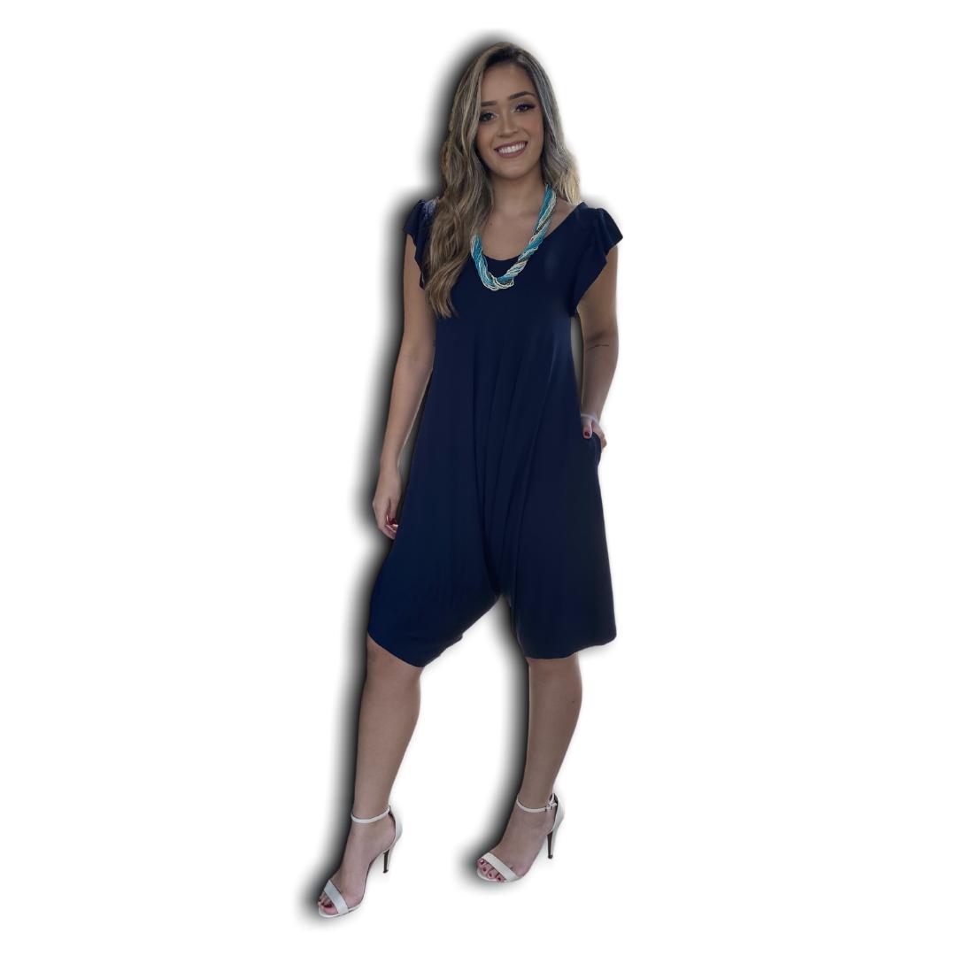 Macacão Midi Malha Soft com Bolsos Azul Marinho