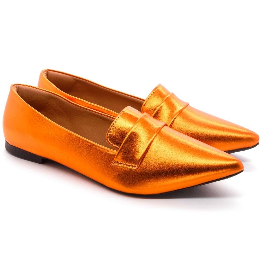 Mocassim  Super Confort Bico fino Metalizado Orange