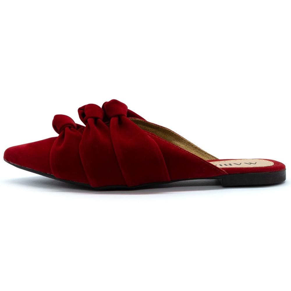 Mule Bico Fino Confort Três Fashion Vermelho