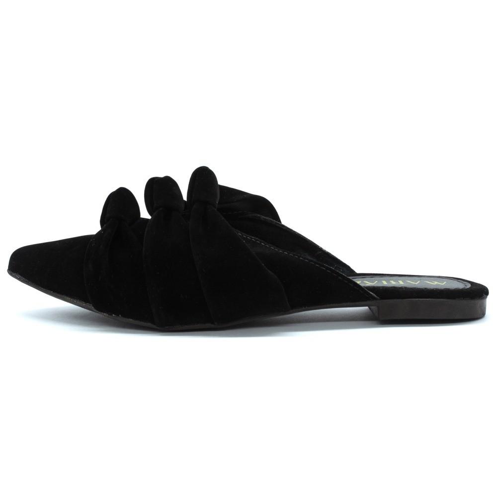 Mule Sandalia Bico Fino Confort Três Fashion Preto