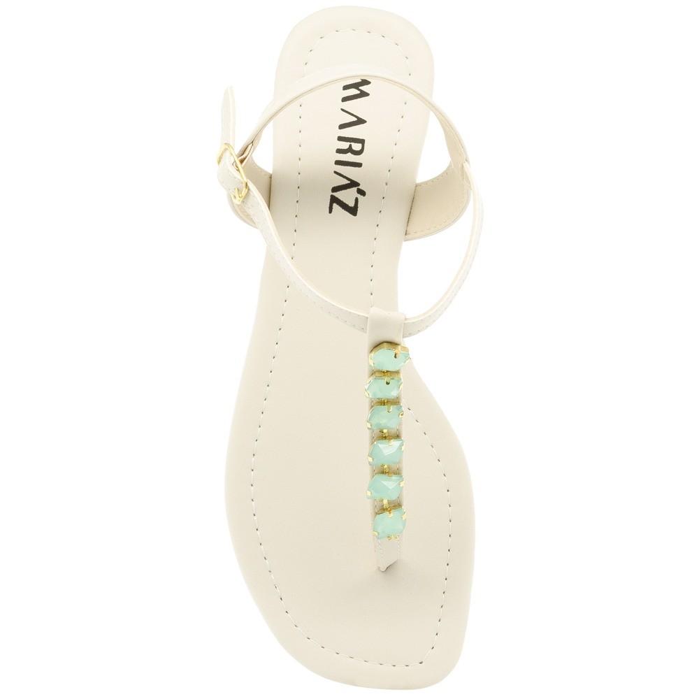 Rasteira Sandália Branca Pedraria Verde Confort Dia-a-dia 24hs Moda Feminina