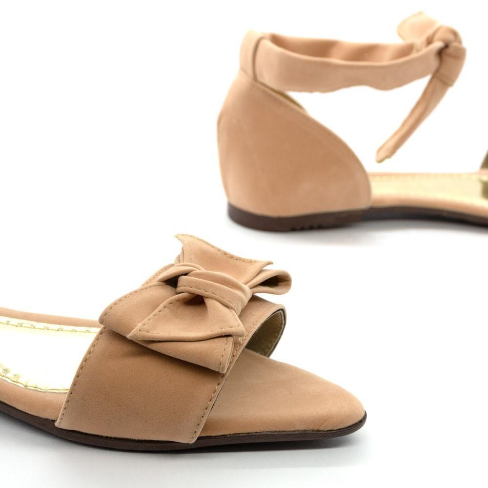 Sandália Laço Chanel Nobuck Nude Mariáz Shoes