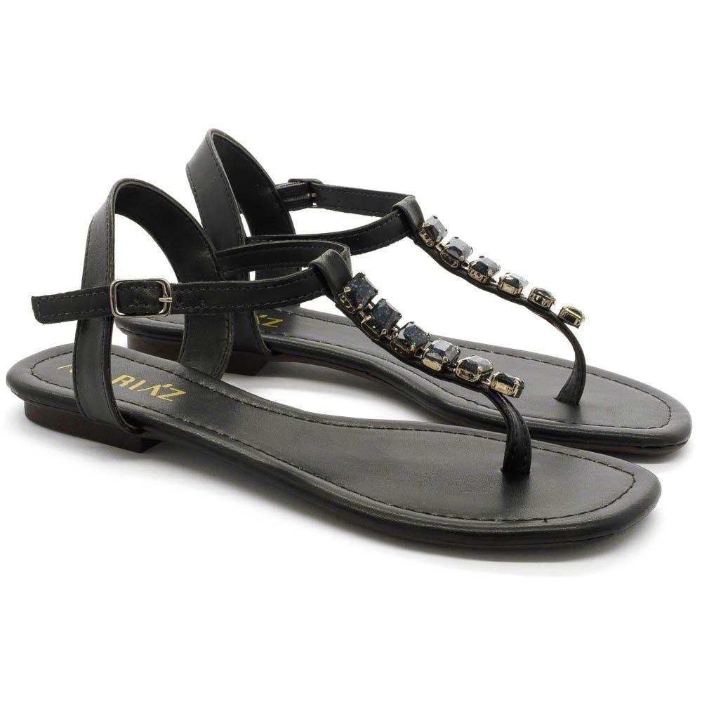 Sandália Rasteira Feminina Bico Quadrado Pedrarias Luxo Confortável Preto
