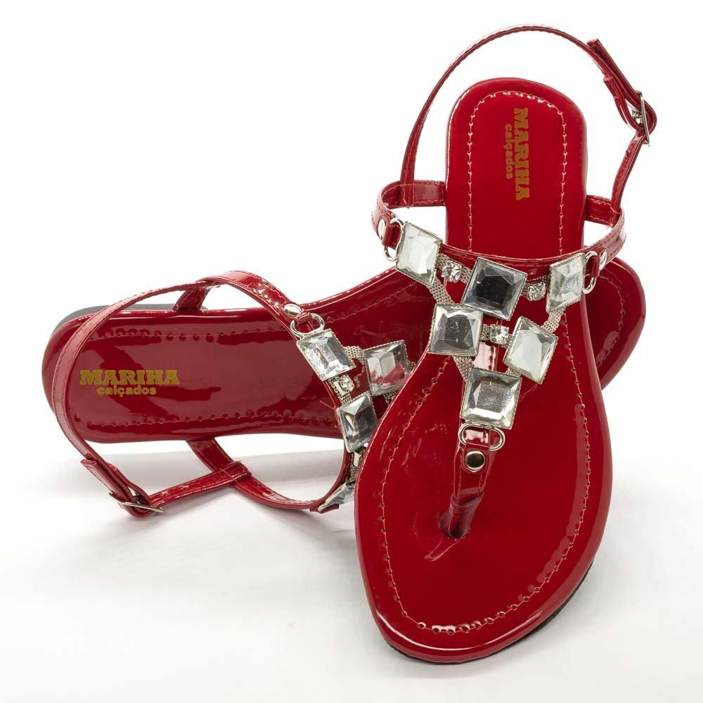 Sandália Rasteira Feminina Pedrarias Luxo Confortável Vermelho Verniz