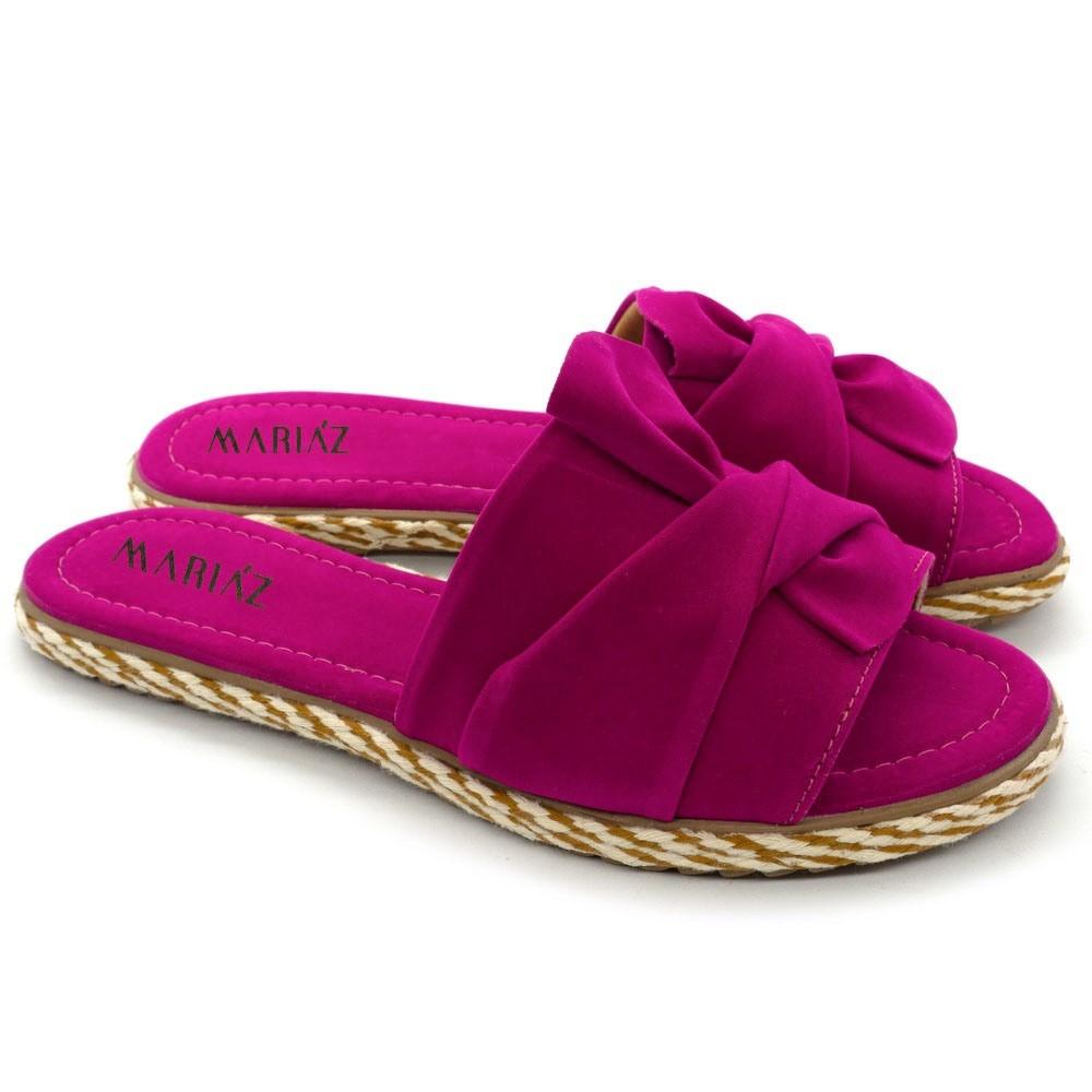 Sandália Rasteirinha Laço Moça Feminina Super Conforto Pink
