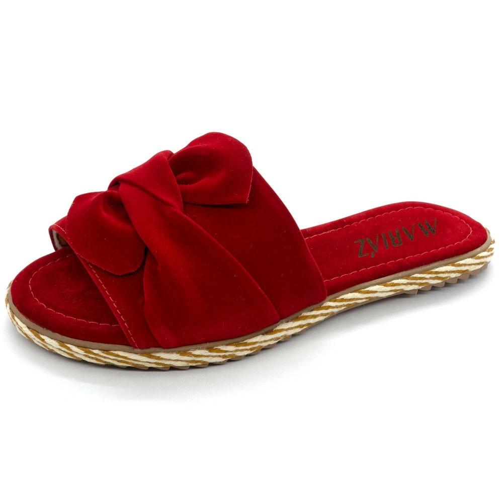 Sandália Rasteirinha Laço Moça Feminina Super Conforto Red