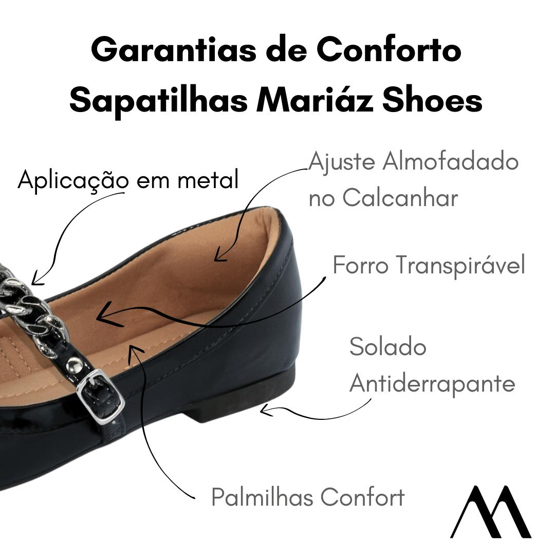 Sapatilha Boneca Feminina Super Confort Preta Corrente Inverno 21  - Mariáz