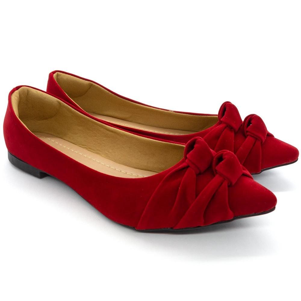 Sapatilha Feminina Bico Fino Nó Confort Vermelho