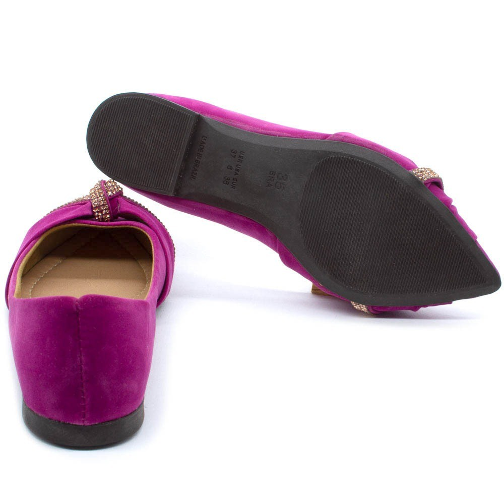 Sapatilha Feminina Bico Fino Strass Confort Pink