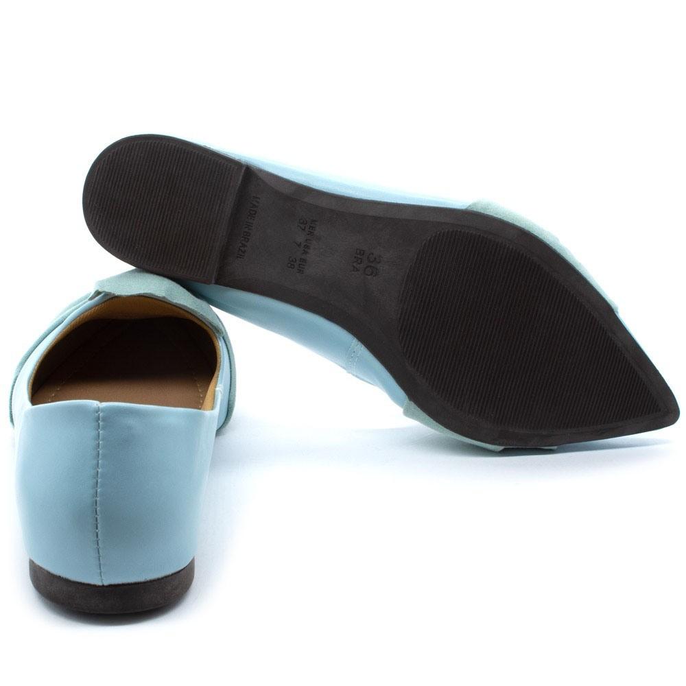 Sapatilha Feminina Verniz Nobuk Super Confort Azul Celeste