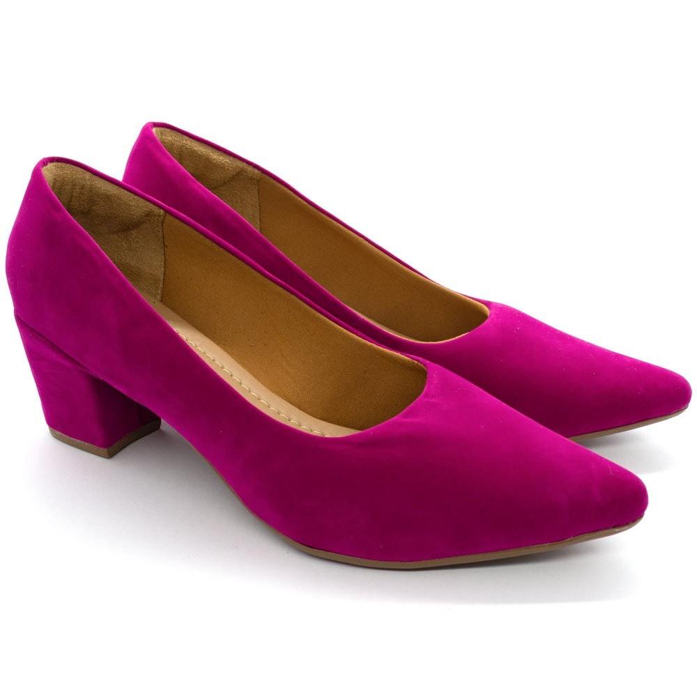 Scarpin Sapato Feminino Bico Fino Salto Bloco Baixo Pink