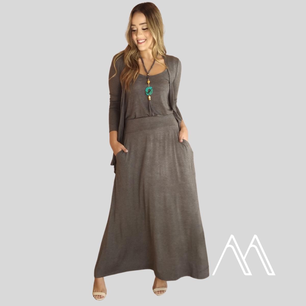 Twin Set Regata + Cardigan Malha Moda Feminina Inverno 21 Kimono Sueter  - Mariáz