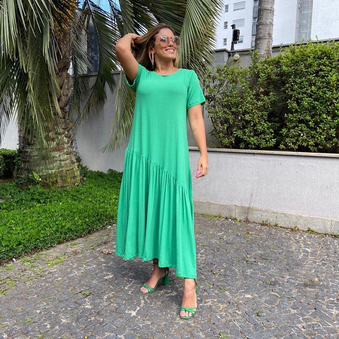 Vestido Midi Franzido Barra Transv Verde