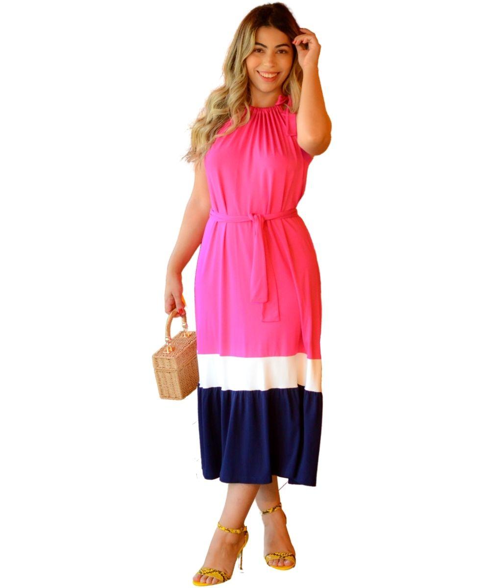 Vestido Midi Malha Premium Cava Americana Pink Marinho