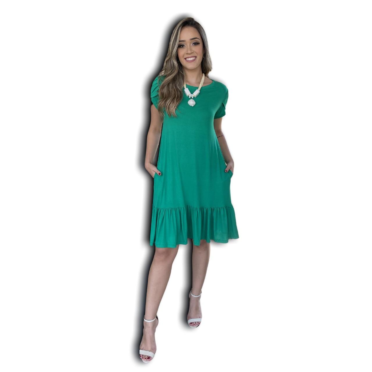Vestido Midi Manga Tulipa Verde  - Mariáz