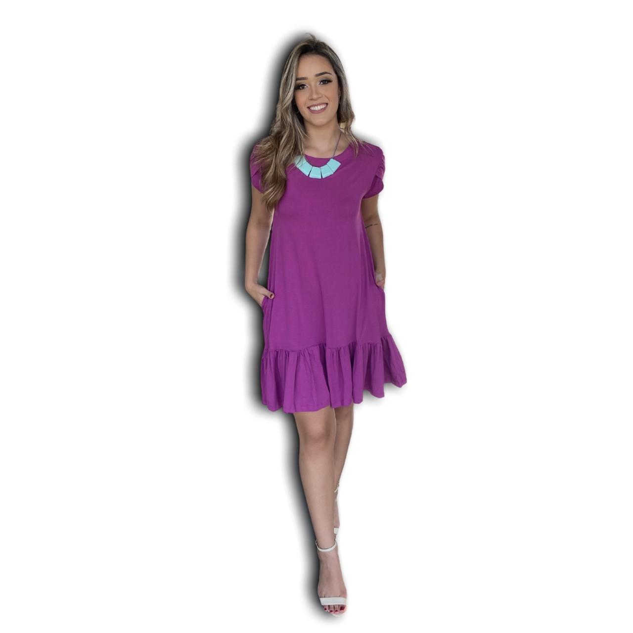 Vestido Midi Manga Tulipa Violeta  - Mariáz