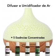 Umidificador e Aromatizador de Ar Purificador Led com 5 Essências Aromatizadoras Concentradas